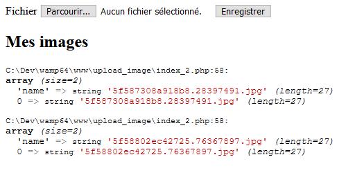Var_dump des données du fetch