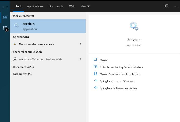 Recherche des services Windows