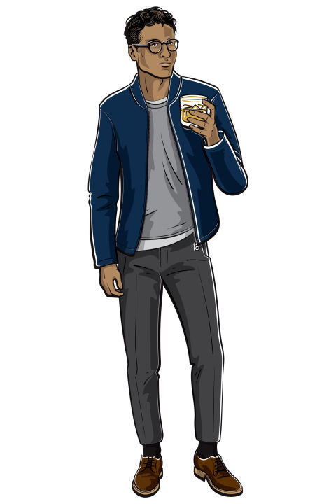 """It's called happy hour, not """"rumpled undone suit at the end of a long day"""" hour. So go for something that's a little more casual, but still sharp and stylish. Trousers, a light sweater, a denim jacket, and a glass of Jim Beam Black® in your hand will help you nail that whole effortlessly cool vibe. Shop similar: Cotton-blend pique bomber jacket ($205) by Folk, mrporter.com; Casper linen and wool-blend sweater ($155) by NN07, mrporter.com; slim-fit super 120s wool trousers ($720) by Prada, mrporter.com; cotton T-shirt in pebble grey ($90) by Sunspel, sunspel.com; Mulberry plain toe mahogany blucher ($550) by Alden, needsupply.com"""