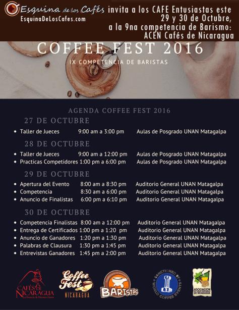 EsquinaDeLosCafes invita a los CAFÉ Entusiastas este 29 y 30 de Octubre, a la 9na competencia de Barismo: ACEN Cafés de Nicaragua. COFFEE FEST 2016, sede UNAN, MATAGALPA. Abierto a los CAFÉ Entusiastas 8am a 6pm día Sábado 29 Octubre Domingo 30: 8am a 1pm.