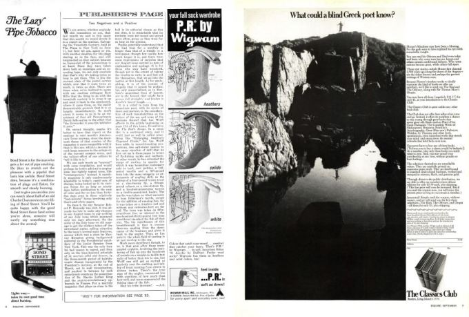 Two Negatives And A Positive Esquire September 1968