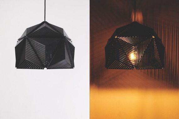 QL10248-BK Icosa Stripe Lamp half round 2 lifestyle