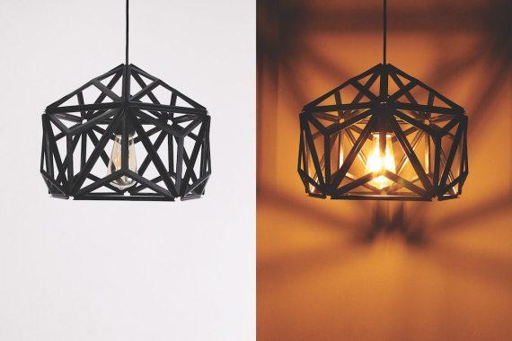 QL10249-BK Icosa Wireframe Lamp half round 1 lifestyle