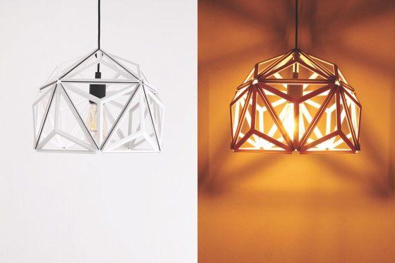QL10249-WH Icosa Wireframe Lamp half round 1 lifestyle