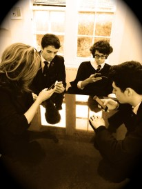 Boys on smartphones