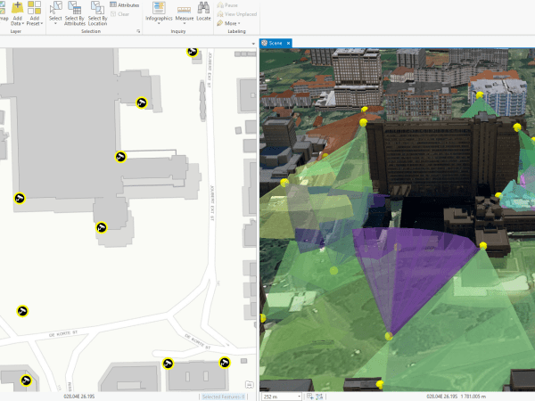 CityEngine & ArcGIS Pro combine to show CCTV coverage in 3D