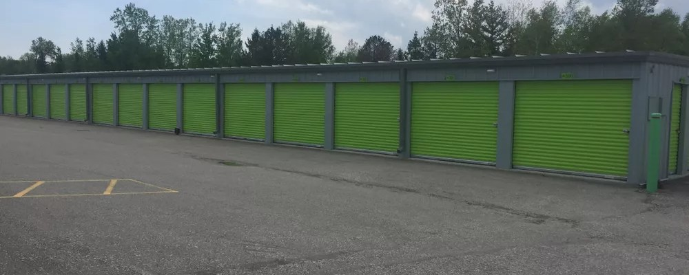 Row of storage units at a self storage facility