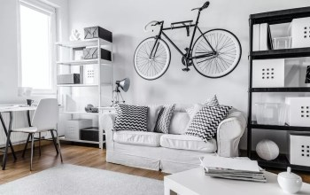 Studio apartment with black and white interior design