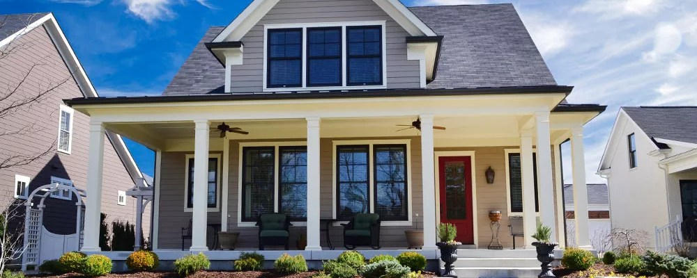 Exterior of modern Craftsman style house