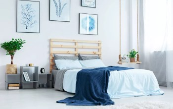 Soft blue hues in contemporary bedroom