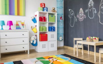 Child's room with organizational shelves and bins