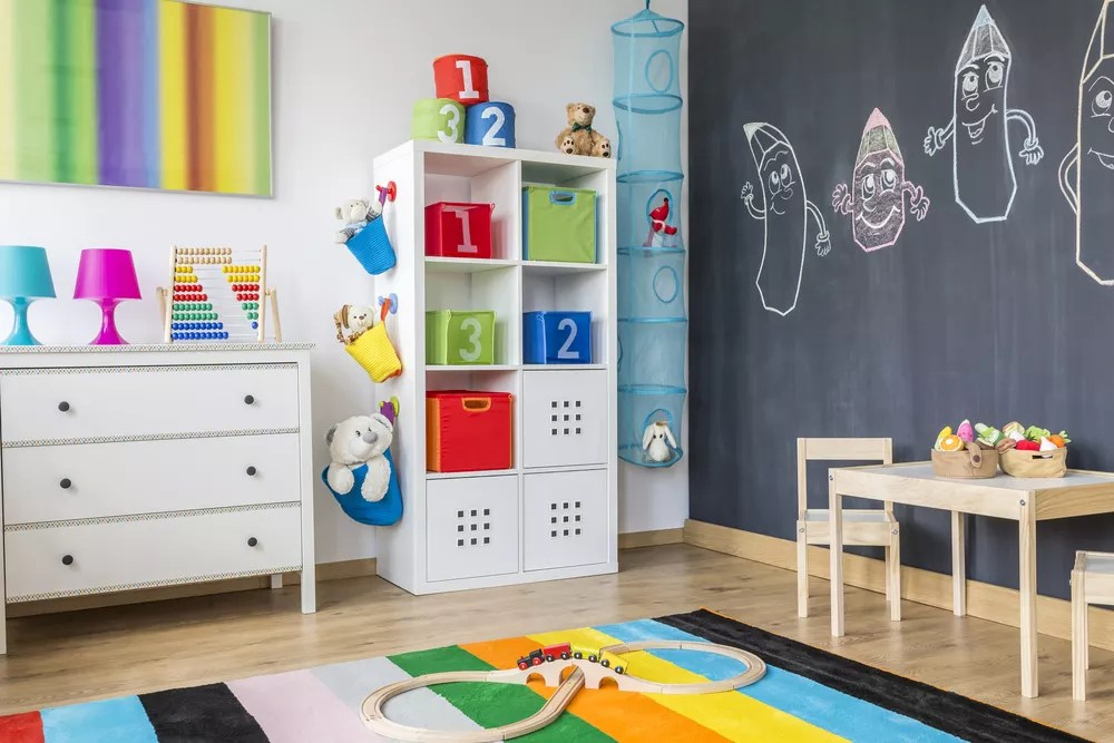 Childu0027s room with organizational shelves and bins & Kids Room Storage u0026 Organization Ideas for Toys Clothes u0026 More ...