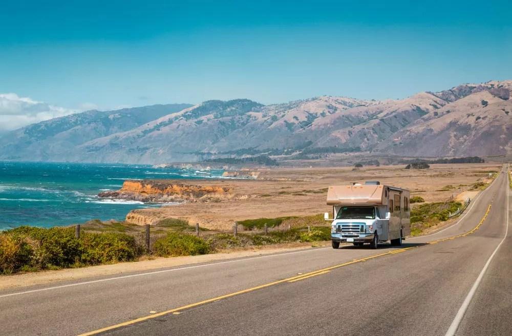 RV driving down California coast