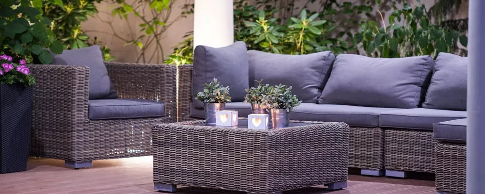 Outdoor living room at night