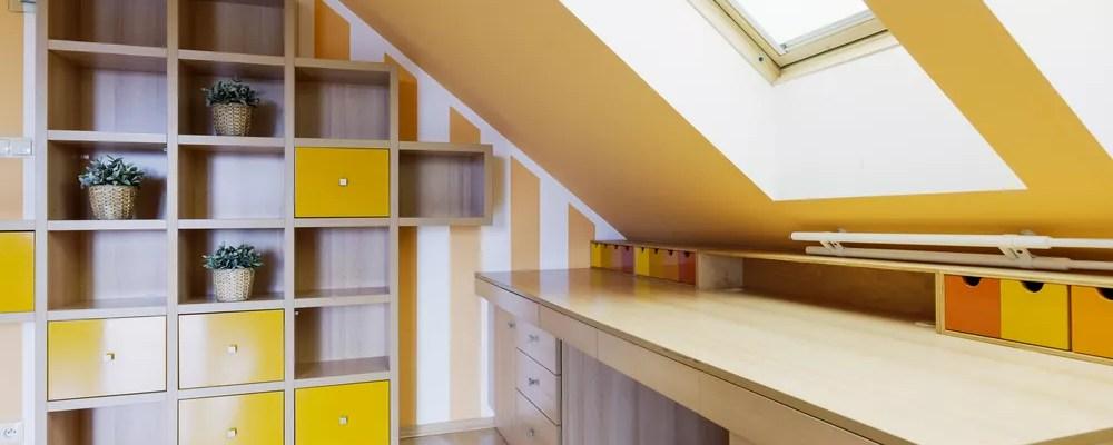 Bright, organized attic space