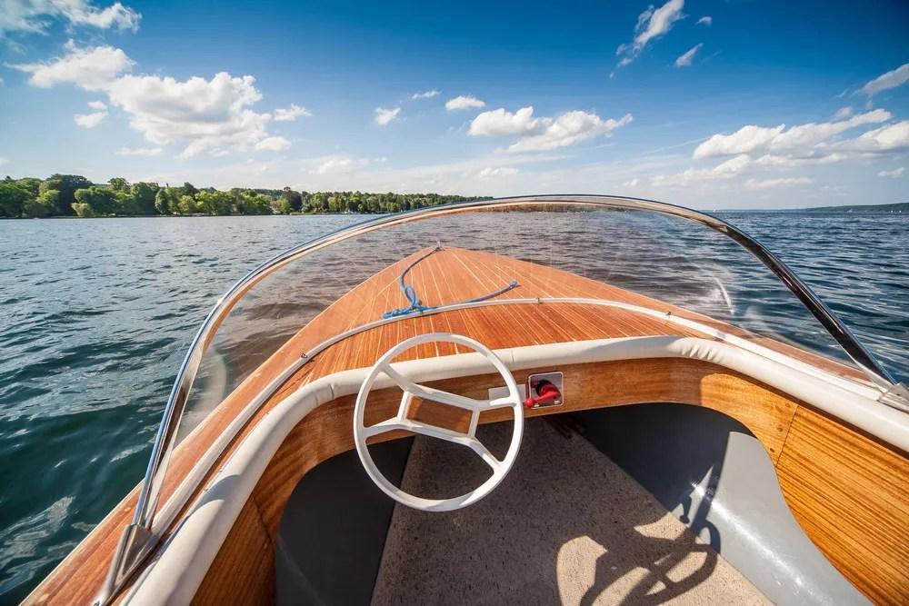 Interior shot of boat floating in lake