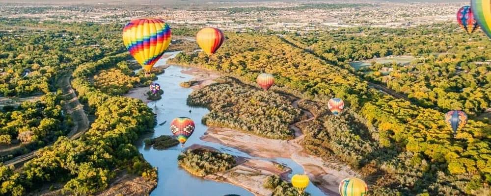 Hot air balloons in the Albuquerque skyline