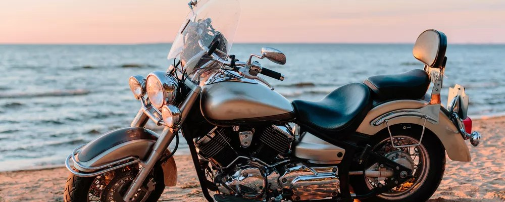 Motorcycle on the beach