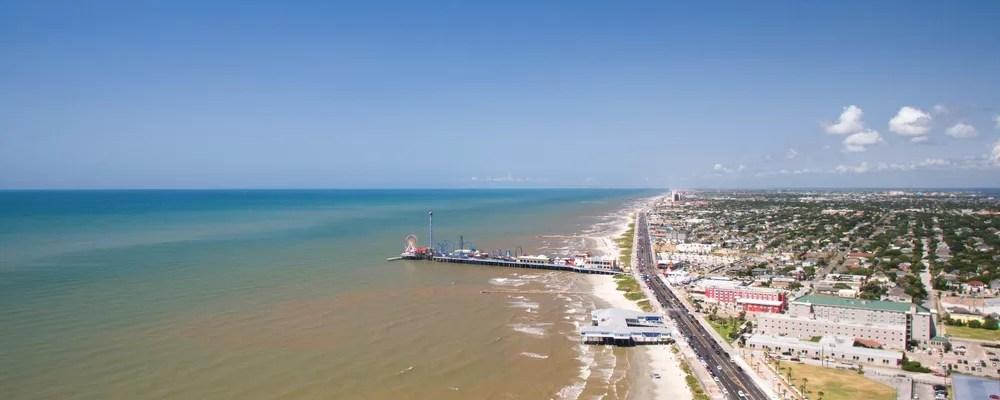 Skyline view of beach in Galveston, Texas