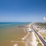 Skyline view of beach in Galveston, Texas