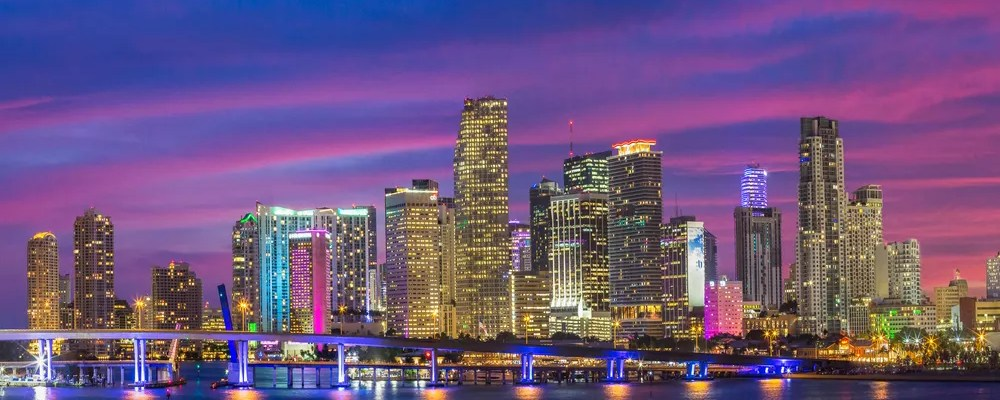 Skyline of downtown Miami as the sun sets
