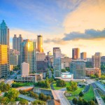 Aerial shot of Downtown Atlanta at sun rise