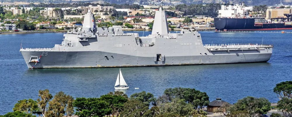 Large navy boat on the water in Coronado, CA