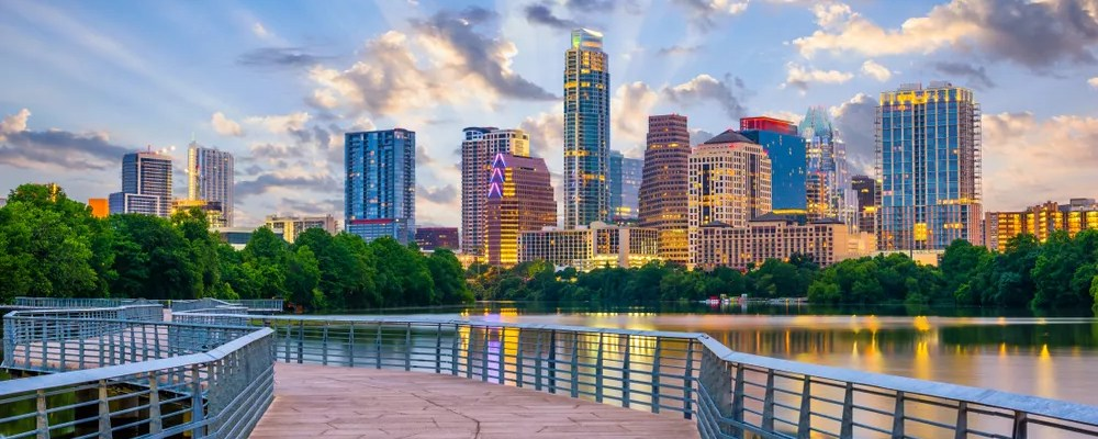 Skyline of Downtown Austin on a sunny day.