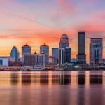 Skyline of Louisville at sunset