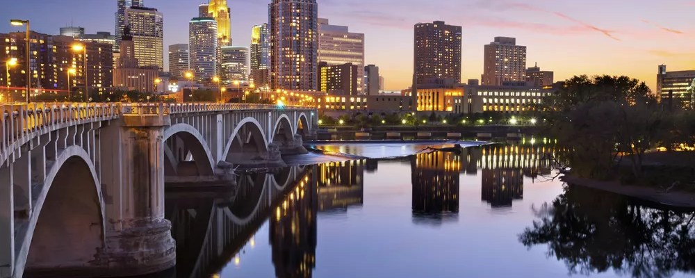Skyline of Downtown Minneapolis at sunset