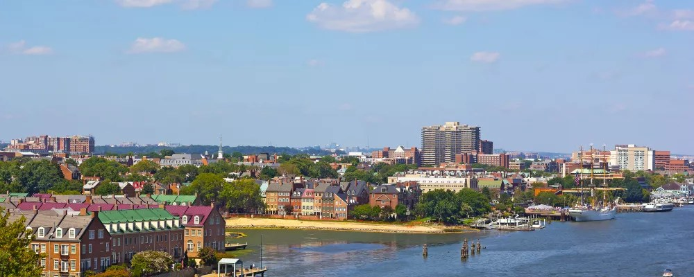 Skyline of Alexandria by the Potomac River.