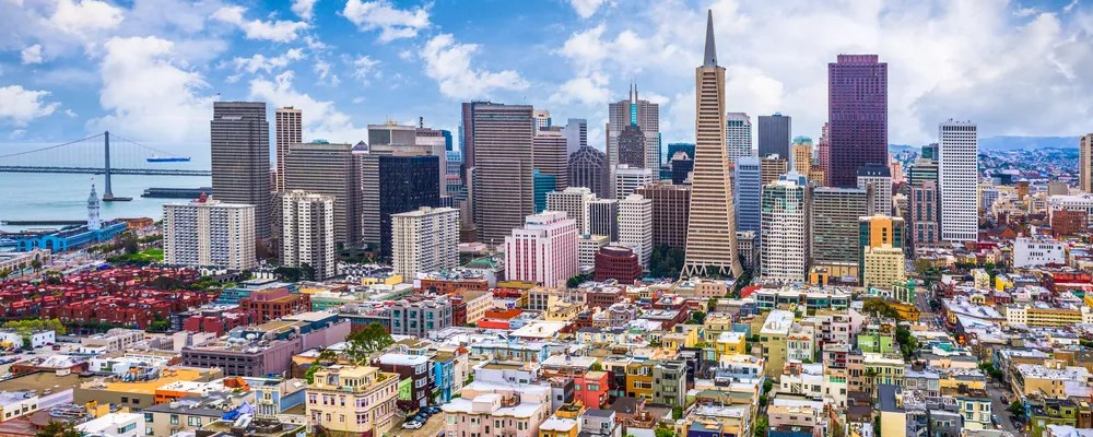Aerial view of tall buildings in Downtown San Francisco