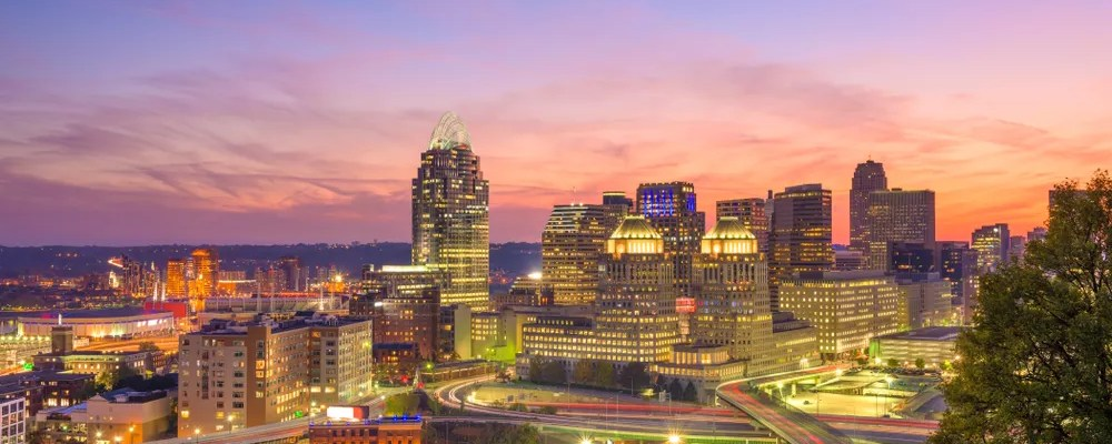 Skyline of buildings in Cincinnati with a sunset