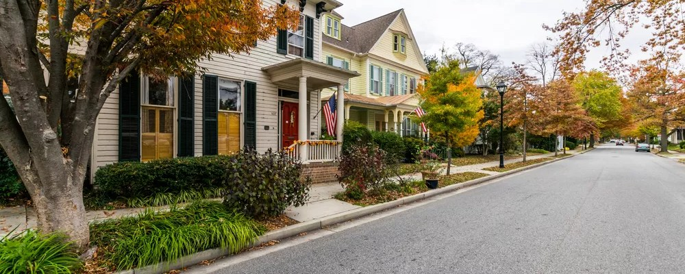 homes along a street in maryland