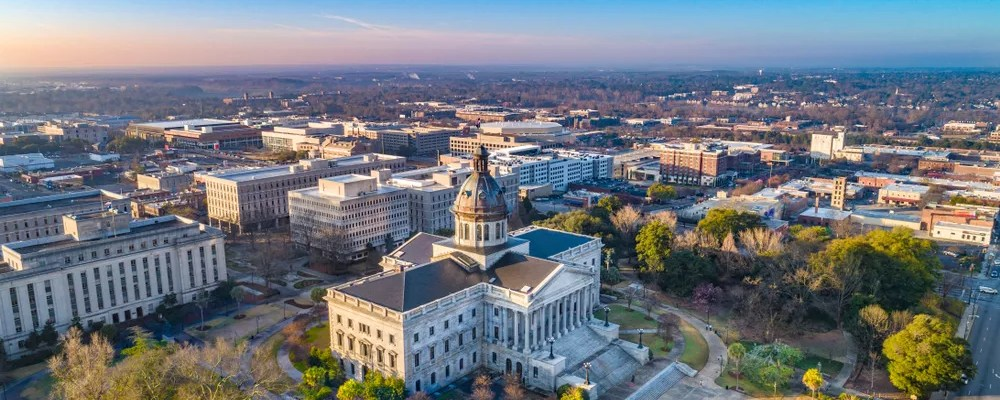 View of Downtown Columbia, SC from Above with Capitol Building Visible
