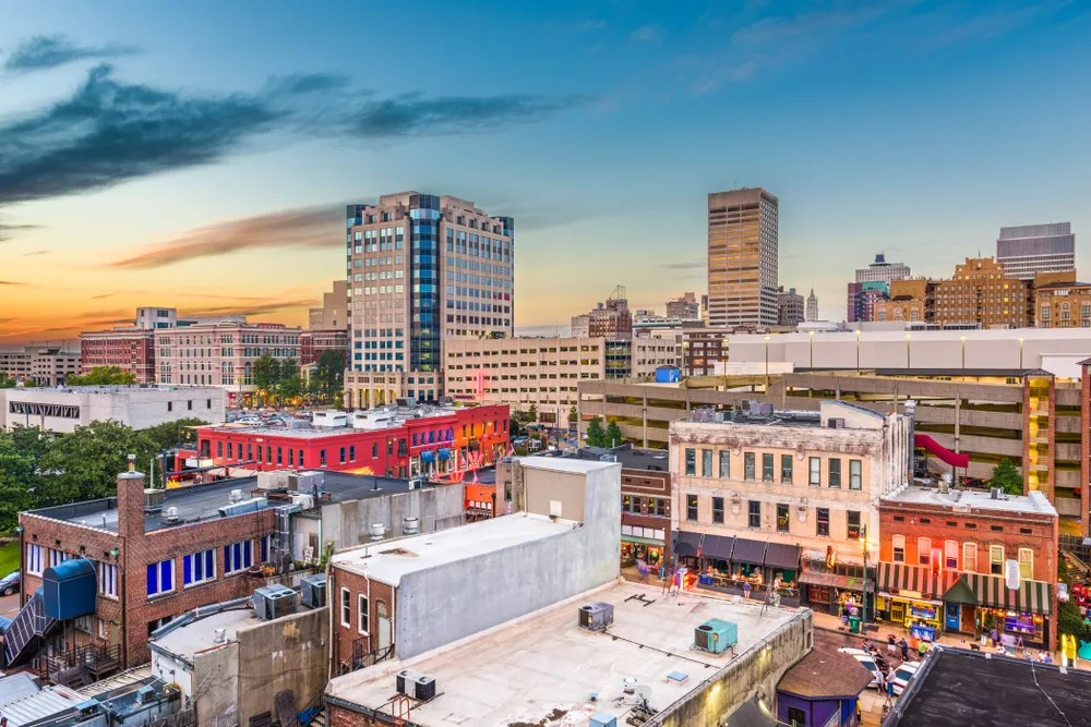 Aerial Photo of Downtown Memphis at Dusk