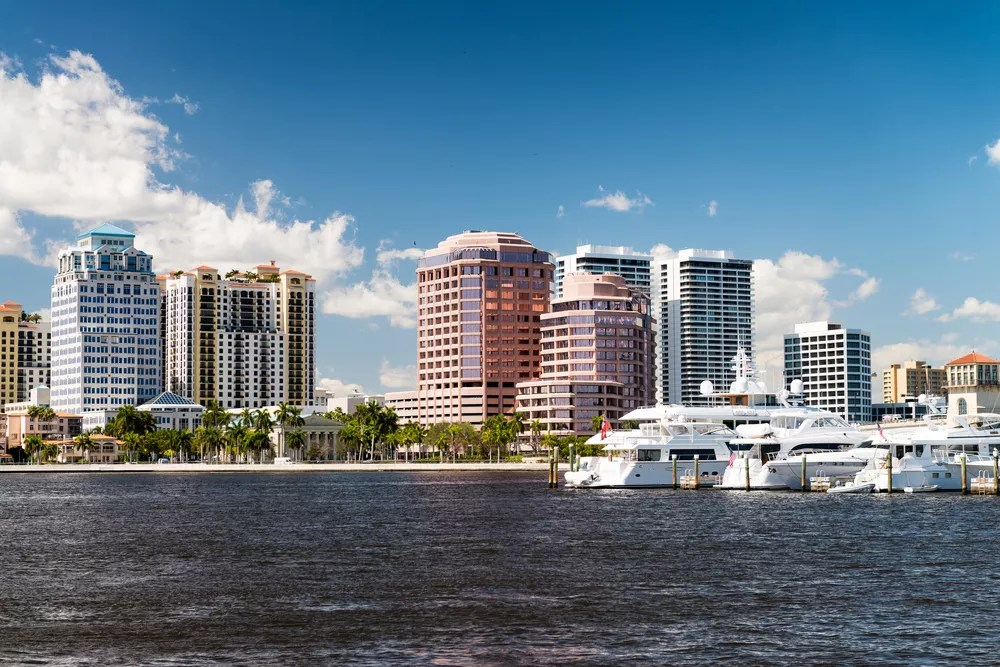 Skyline View of Downtown West Palm Beach from the Water During the Day