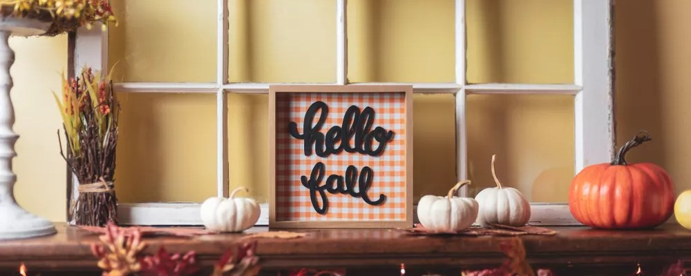 Small Hello Fall Sign on a Fall Themed Table