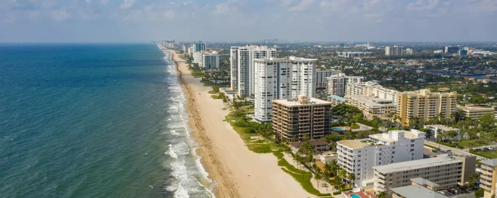 Aerial view of Beach Front in Pompano Beach, FL