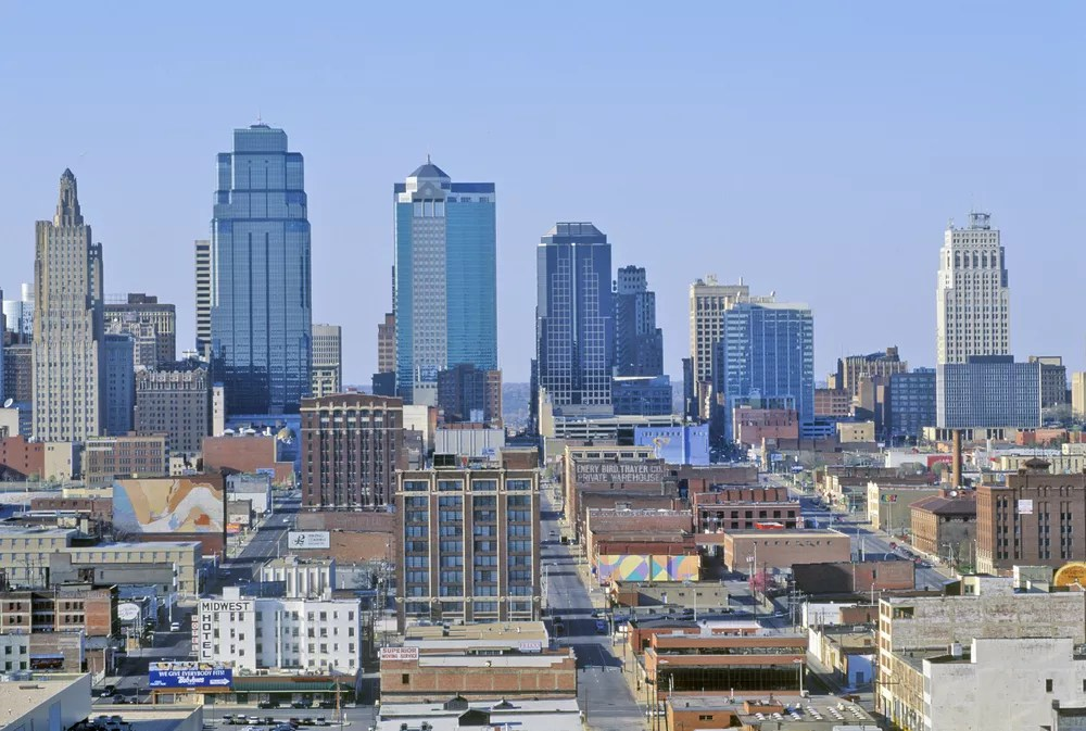 Aerial View of the Kansas City, MO Downtown Skyline During the Day