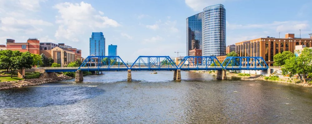 The Blue Bridge over the Grand River in downtown Grand Rapids