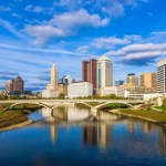 Ground level view of downtown Columbus, OH looking over the Scioto River