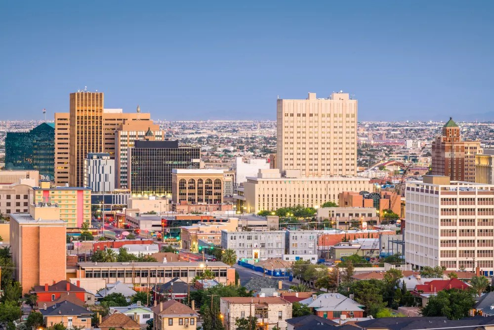 Aerial shot of the downtown El Paso Skyline.