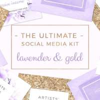 Lavender and Gold Social Media Templates, Purple Branding, Instagram Template, Pinterest Facebook Template, Floral Stock Photo, Blog Header