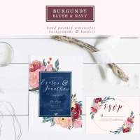 Burgundy Blush Navy Watercolor Backgrounds, 5x7 Floral Borders, 12x12 A4 Digital Paper