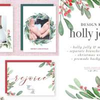 Watercolor Christmas Wreath Clipart, Christmas Card Templates, 5x7 A4 digital borders & frames