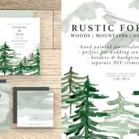Rustic Forest Watercolor Backgrounds, Geometric Rose Gold Wedding Invitation Clipart, Conifers Pine Trees Mountains Hills Woodland Graphics