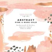 Modern Abstract Pink and Rose Gold Watercolor Design Kit