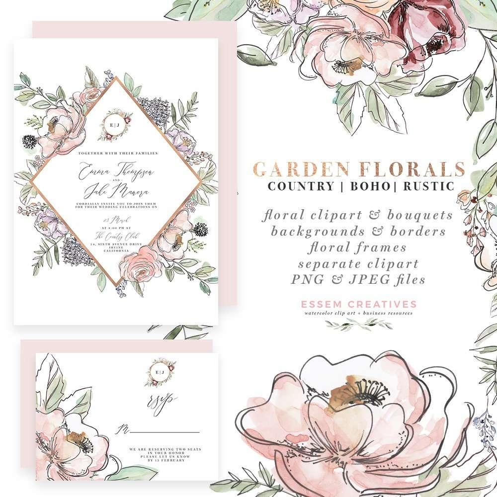 garden floral watercolor flowers clipart boho rustic farmhouse cottage wedding invitations logo branding