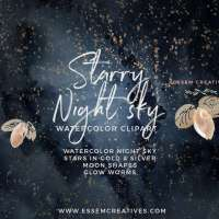 Celestial Starry Night Sky Watercolor Clipart